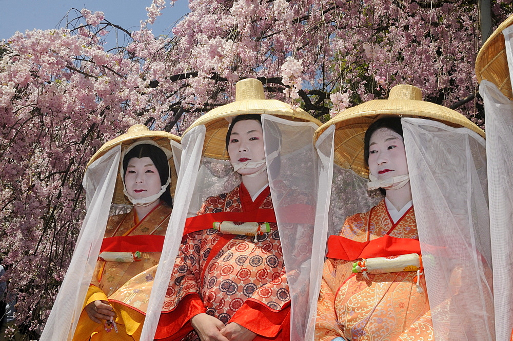 Japanese women in costumes from the Heian period, procession participants, Hirano Shrine, Kyoto, Japan, East Asia, Asia - 832-204881