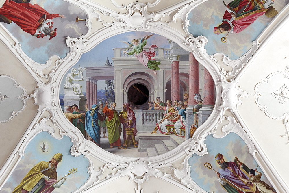 Ceiling fresco in the St. Andreas Parish Church, Kitzbuhel, Tyrol, Austria, Europe