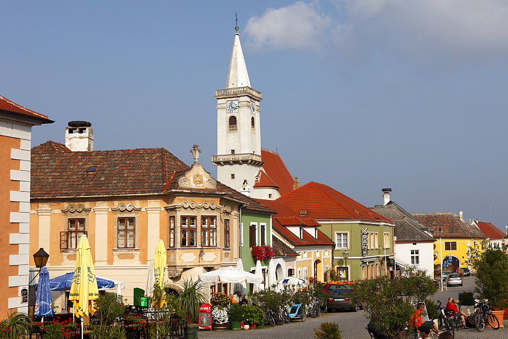 Town hall square and Catholic church, Rust on Lake Neusiedl, Burgenland, Austria, Europe
