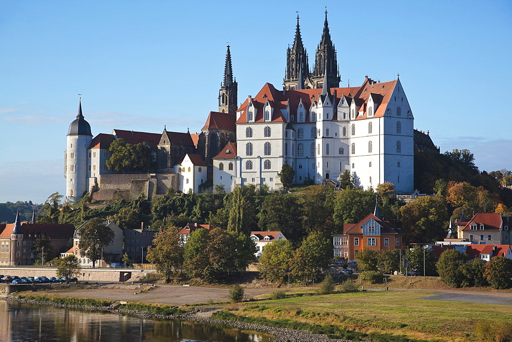 Albrechtsburg castle seen from the opposite side of the Elbe river, in Meissen, Saxony, Germany, Europe