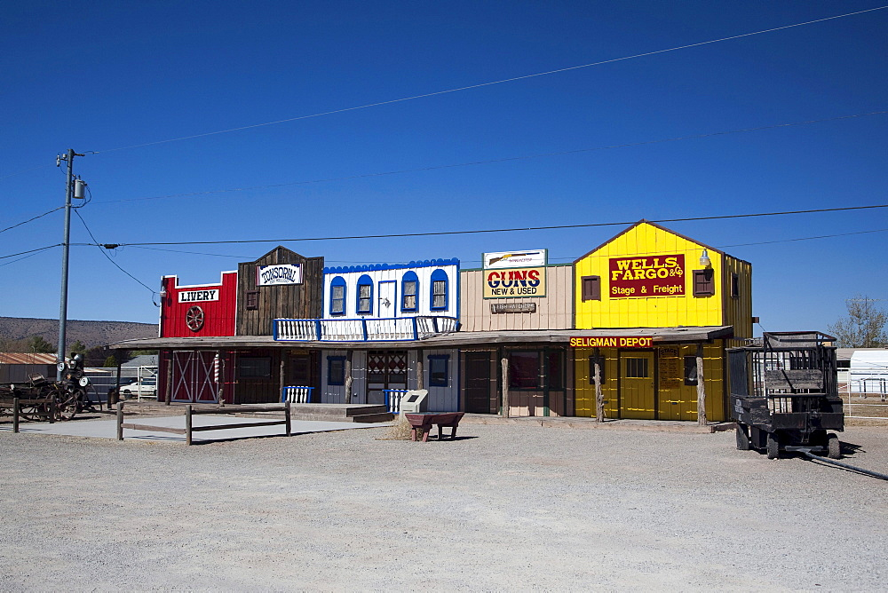Souvenir shops on the historic Route 66, Antares, Kingman, Arizona, USA, North America
