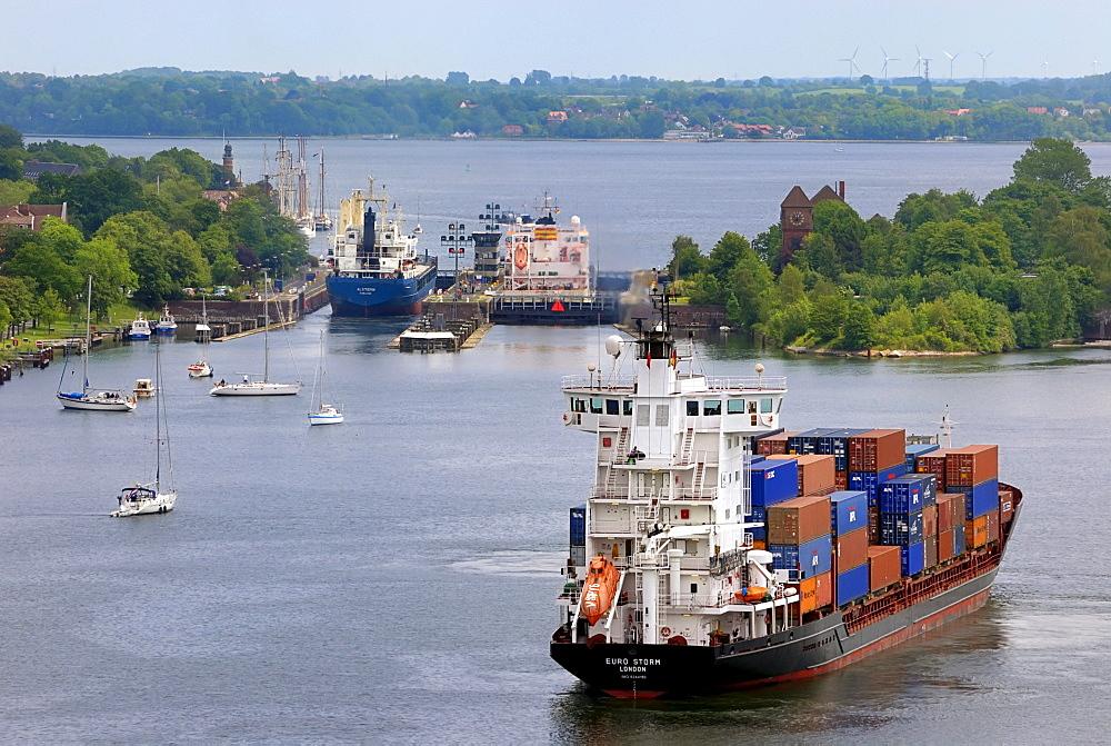 Shipping traffic at the Holtenau lock, Kiel Canal, Schleswig-Holstein, Germany, Europe