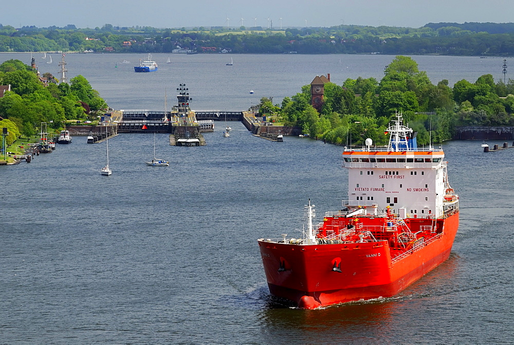 LPG tanker leaving the Holtenau lock, Kiel Canal, Schleswig-Holstein, Germany, Europe