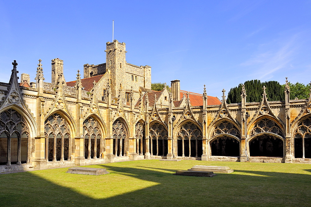 Cloister in the former convent of Canterbury Cathedral, Kent, England, UK, Europe