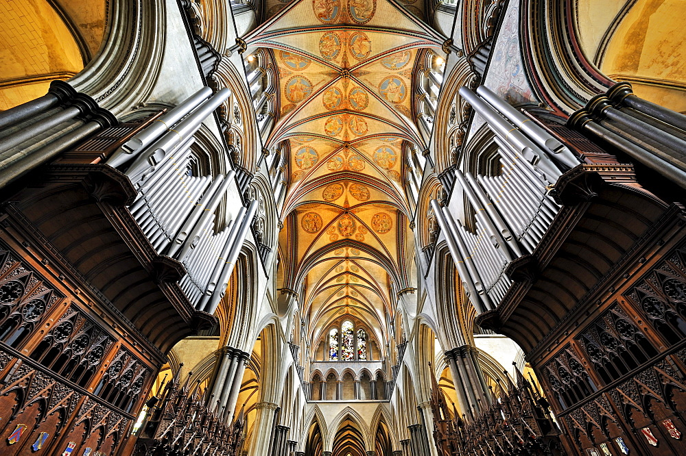 Interior of St. Mary's Cathedral in Salisbury, Wiltshire, England, United Kingdom, Europe