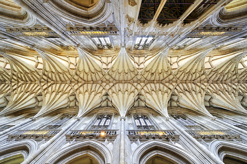 View from the nave to the fanned vaul of Winchester Cathedral, Hampshire, England, United Kingdom, Europe