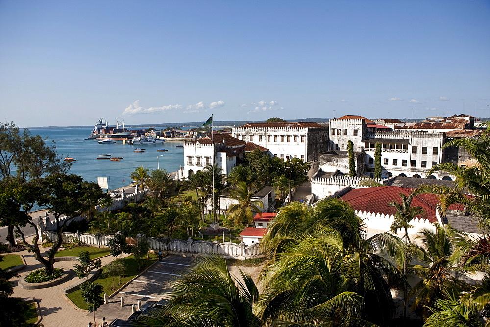 Overlooking the port of Stone Town, Zanzibar, Tanzania, Africa