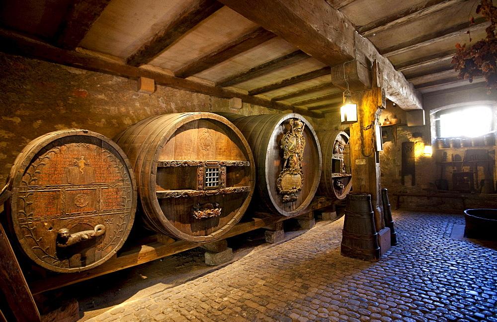 Old wine barrels, Unterlinden, Rue d'Unterlinden, Colmar, Alsace, France, Europe
