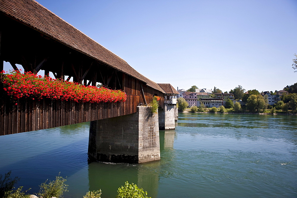 Old covered wooden bridge dating from the 15th Century over the Rhine River, Bad Saeckingen, Waldshut district, Baden-Wuerttemberg, Germany, Europe