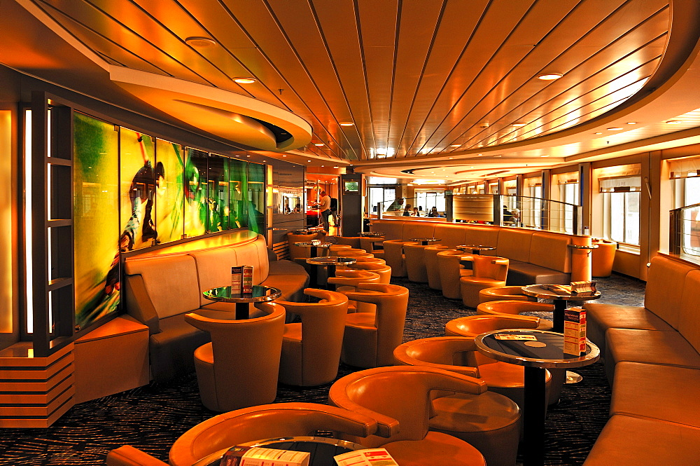 "Passenger lounge on the ""Seafrance"" car ferry Calais-Dover, Calais, France, Europe"