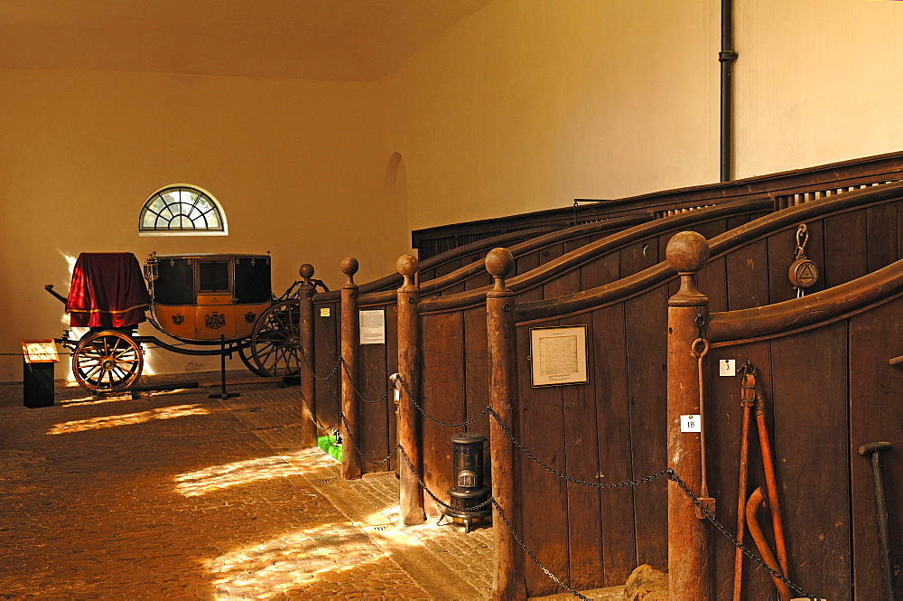 """Stable of """"""""Boughton House, in the back a dress coach, carriage for special occasions, from 1830, Geddington, Kettering, Northamptonshire, England, United Kingdom, Europe"""