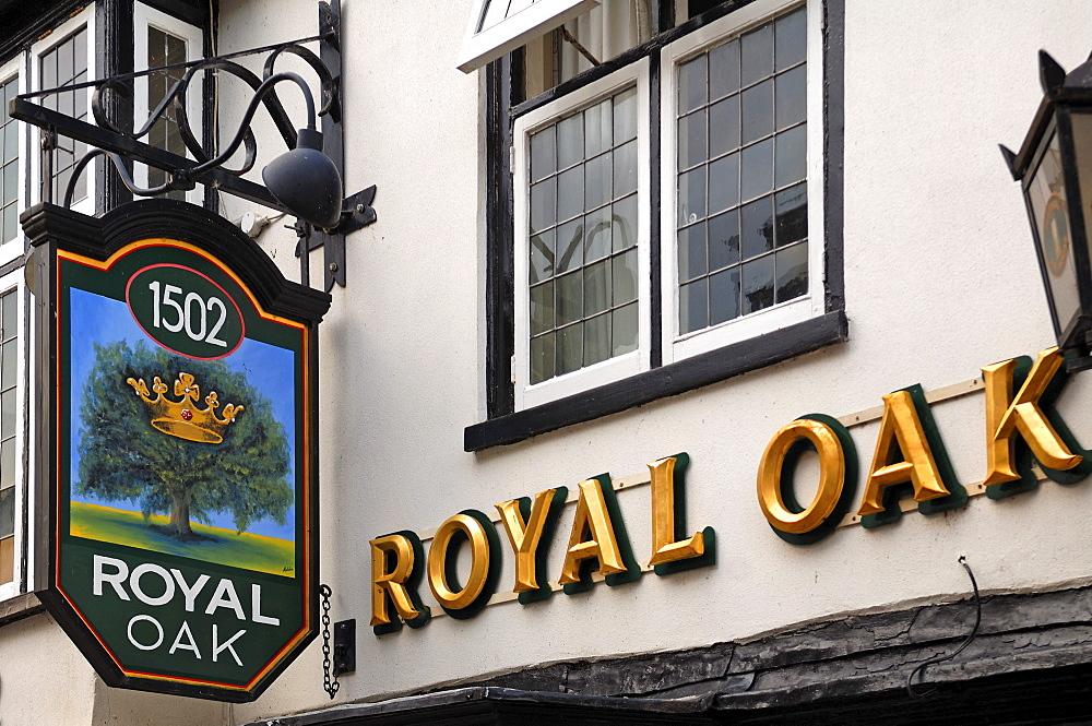 Pub sign, Royal Oak, Crown Street, St. Ives, Cambridgeshire, England, United Kingdom, Europe