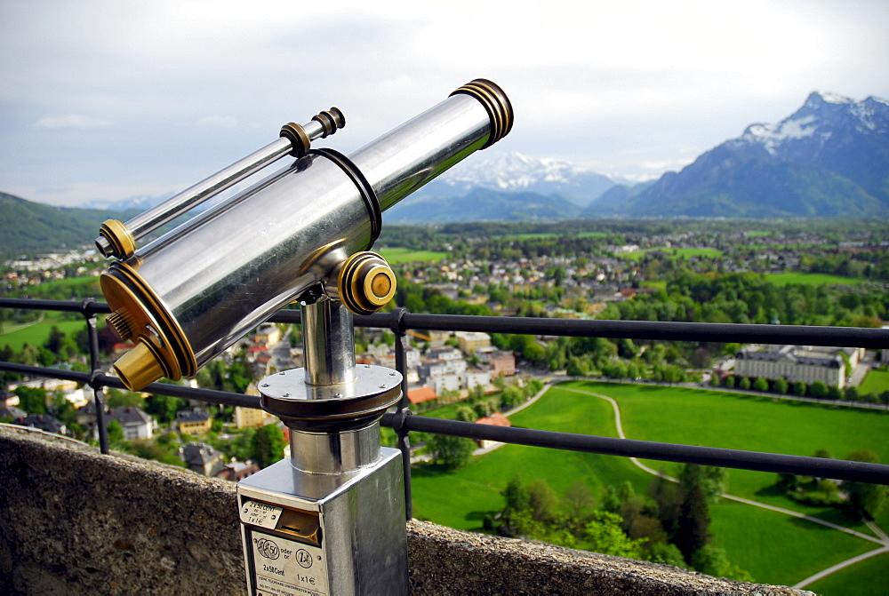 Binoculars, view from the Festung Hohensalzburg fortress over the landscape, Salzburg, Salzburger Land state, Austria, Europe