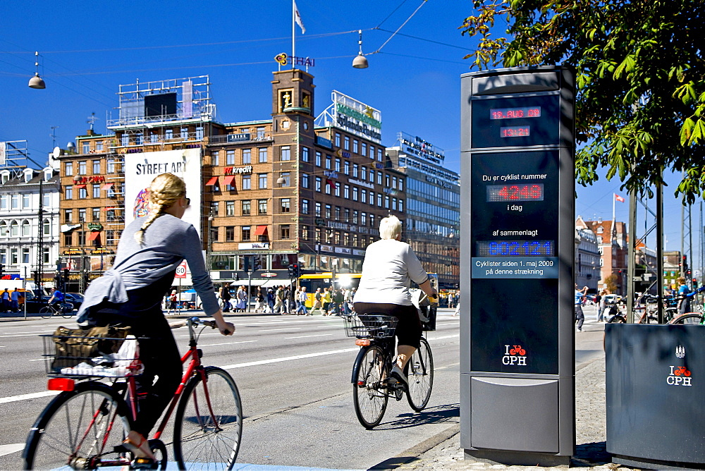 Electronic bicycle counter at the city hall square in Copenhagen, Denmark, Europe