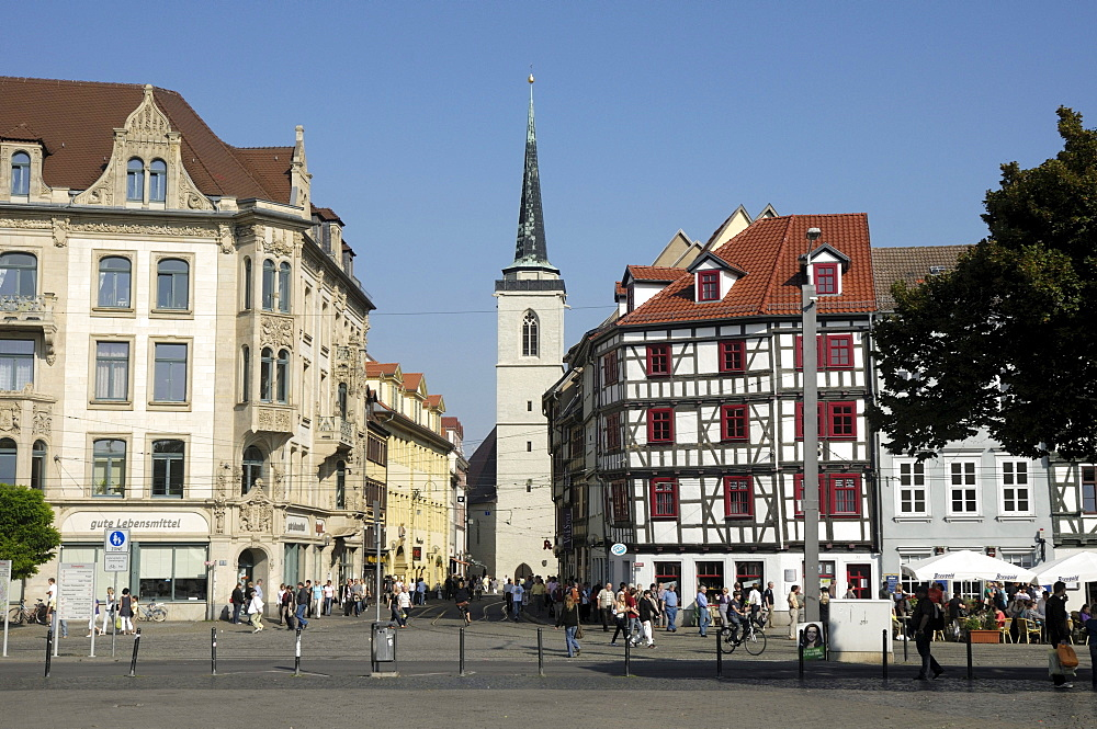 Domplatz square with All Saints Church, Erfurt, Thuringia, Germany, Europe