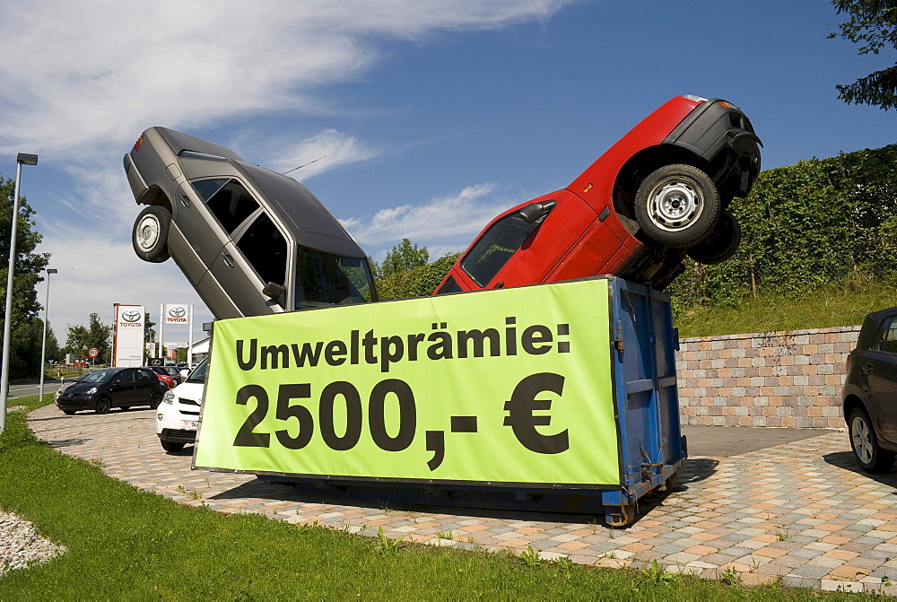 Decoration of a car dealer for the car-scrap bonus in Bavaria, Germany, Europe