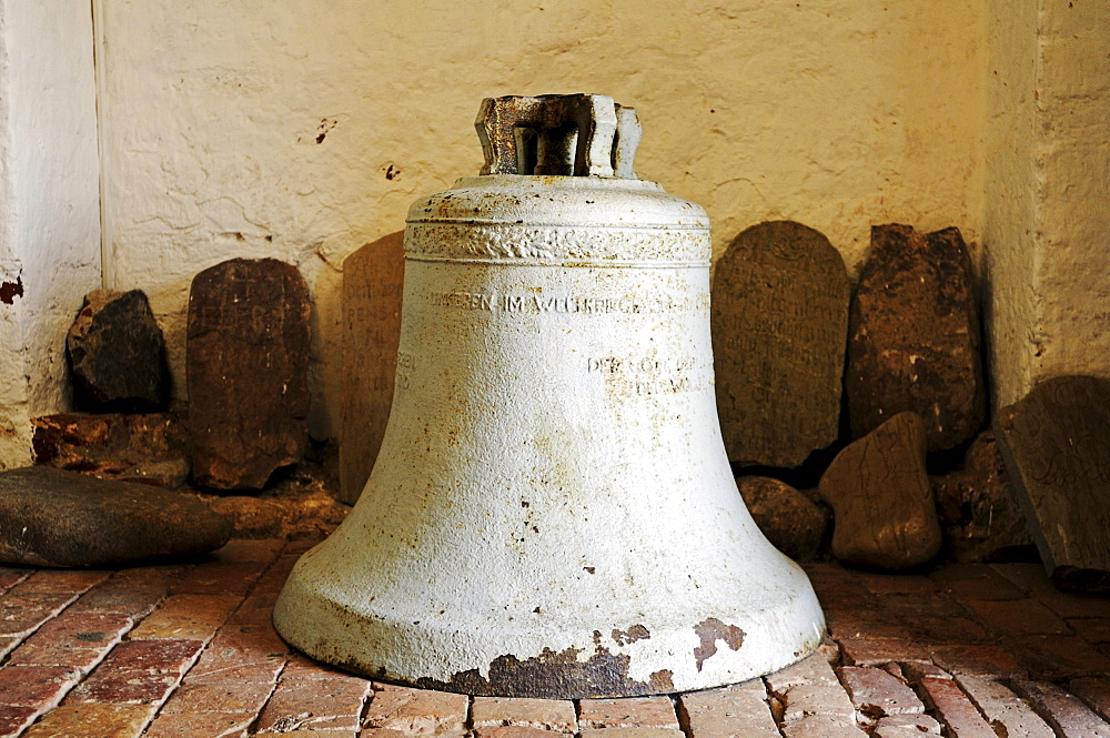 Bell in the church of St. Paul, oldest stone church on Ruegen, Bobbin village, Jasmund peninsula, Ruegen Island, Mecklenburg-Western Pomerania, Germany, Europe
