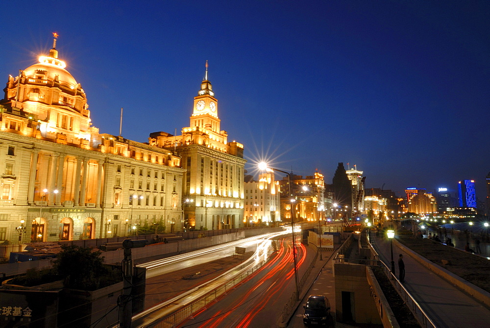 The illuminated Bund promenade at night, avenue in Shanghai, with HSBC Building, and China Merchants Bank Building, China, Asia