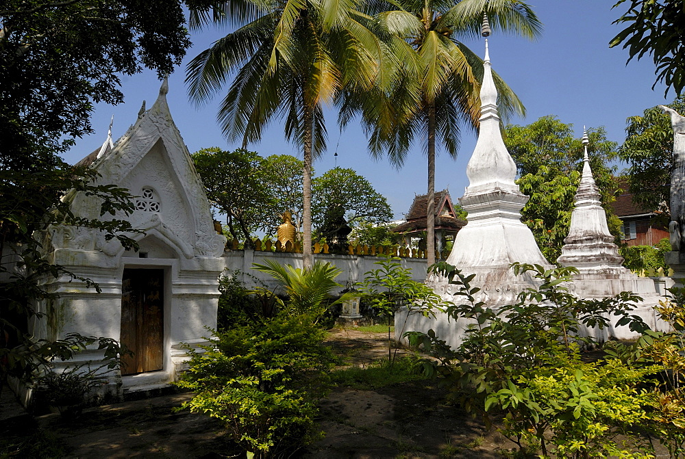Stupa and grave shrines in Wat Xieng Mouans in Luang Prabang, Laos, Asia