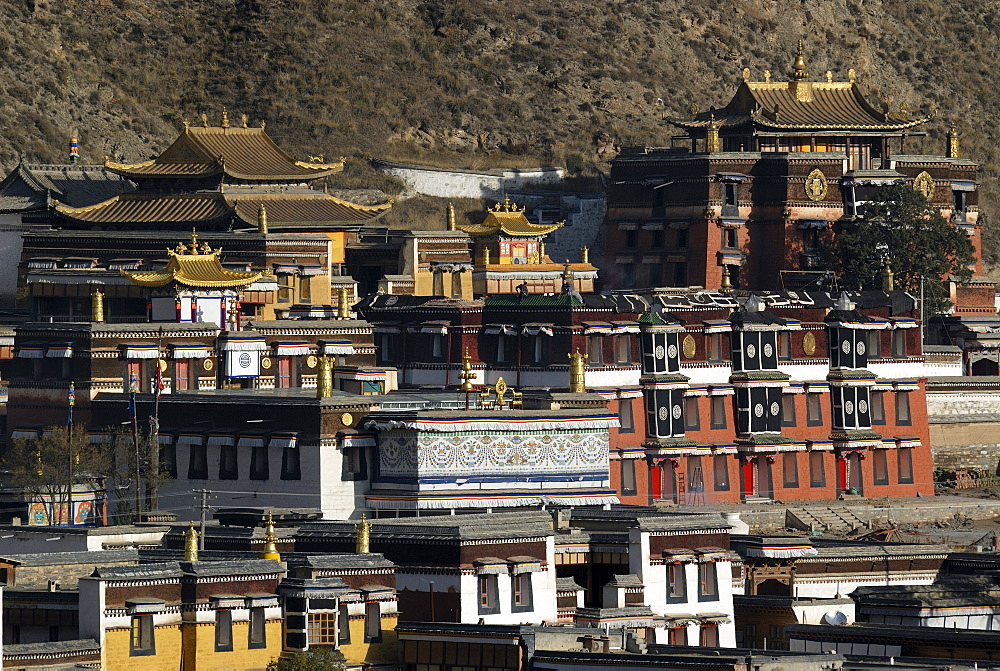 Tibetan Labrang monastery of the Gelukpa order of Tibetan Buddhism, Xiahe, Gansu, China, Asia