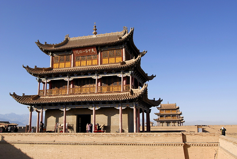 Jiayuguan fortress at the western end of the Great Wall, Silk Road, Gansu, China, Asia