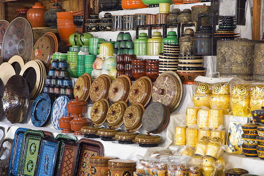 Lacquer works, souvenirs, Old Bagan, Pagan, Burma, Myanmar, Asia