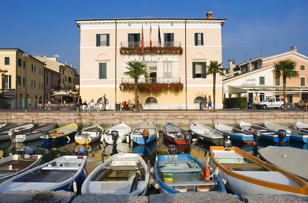 Fishing port, promenade, Bardolino, Lake Garda, Lago di Garda, Veneto, Italy, Europe
