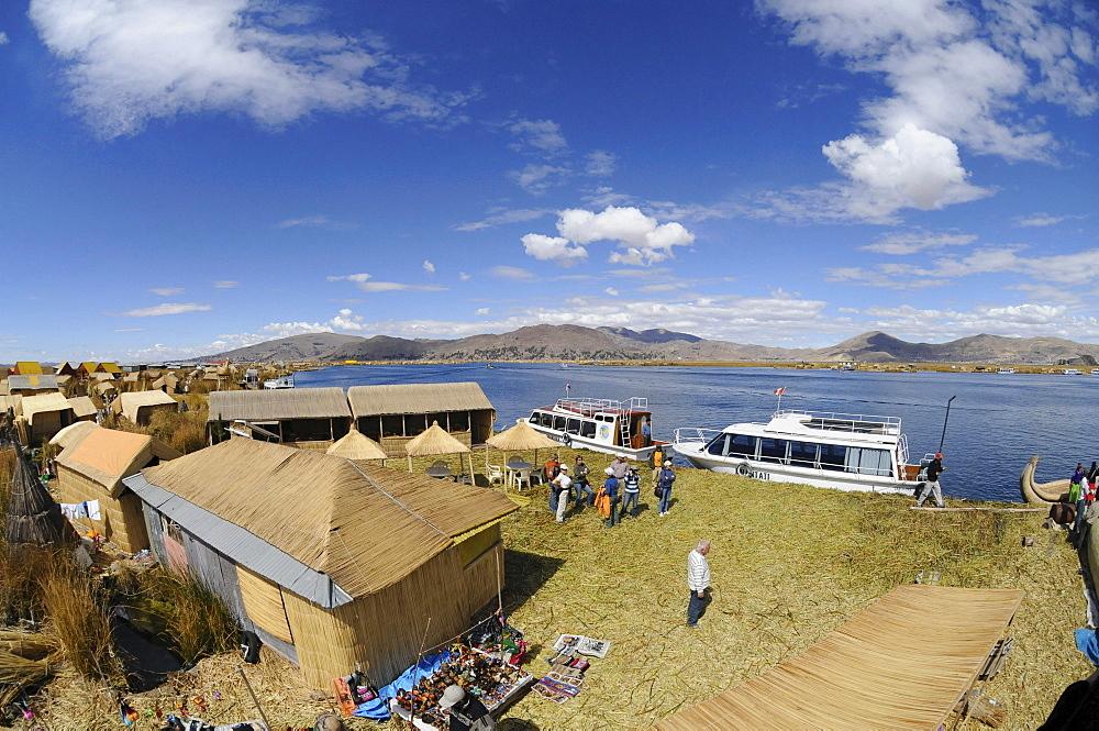 Uros, floating island, Lake Titicaca, Peru, South America, Latin America