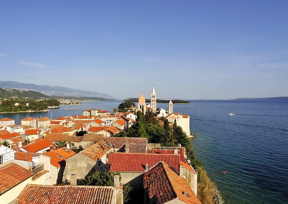 Oldest quarter of Rab Town, with Belfry of St Justine's Church, Great Bell Tower of St Mary's Cathedral, and Campanile of St Andrew's Monastery as seen from Campanile of Church of St John the Evangelist, Kaldanac, Croatia, Europe