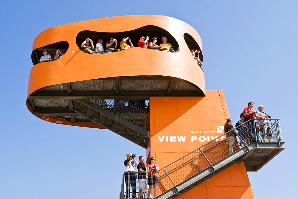 Tourists on a vantage point in the port of Hamburg, Hamburg, Germany, Europe