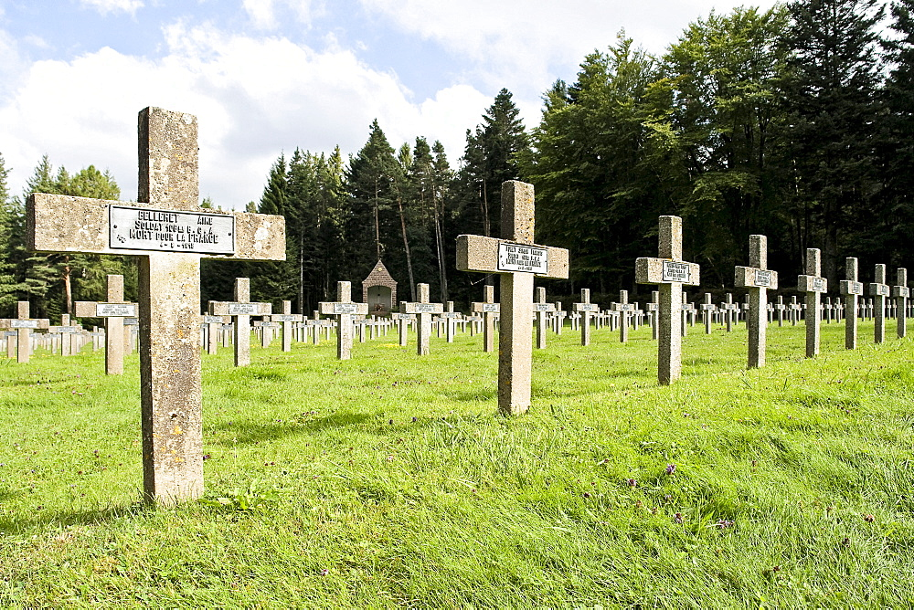 Le Linge, a French military cemetery on the Col du Wettstein, Alsace, France, Europe