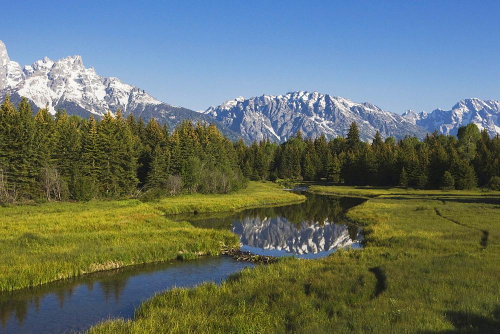 Grand Teton Range and beaver dam, Snake River, Grand Teton National Park, Wyoming, USA