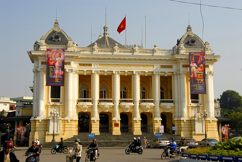 Opera House, Neoclassicism, transport, mopeds, Hanoi, Vietnam, Southeast Asia, Asia