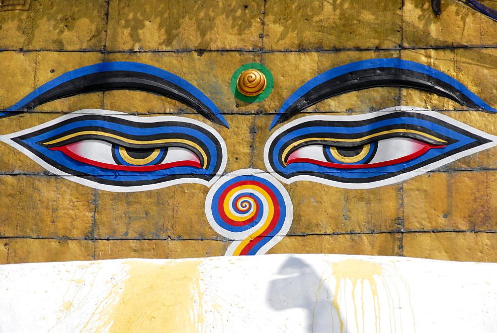 UNESCO World Heritage Site, Tibetan Buddhism, Swayambhunath Stupa, two eyes looking down, pair of eyes, Kathmandu, Nepal, Himalaya, Asia