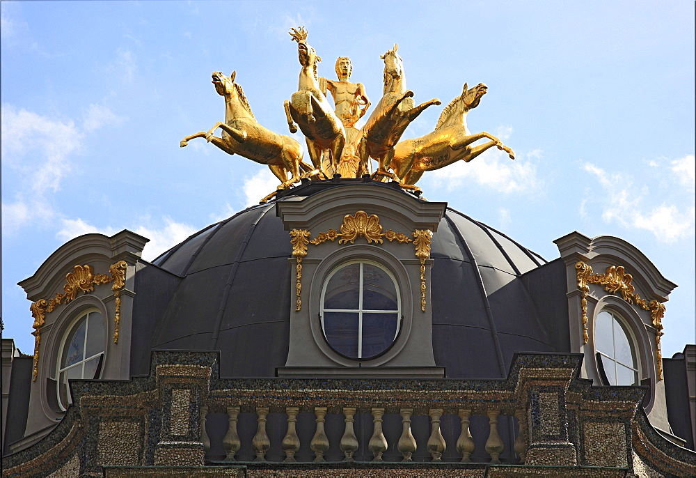 Golden Quadriga being driven by a torchbearing Apollo, detail of the Sun Temple in the Hermitage Palace in Bayreuth, Upper Franconia, Bavaria, Germany, Europe