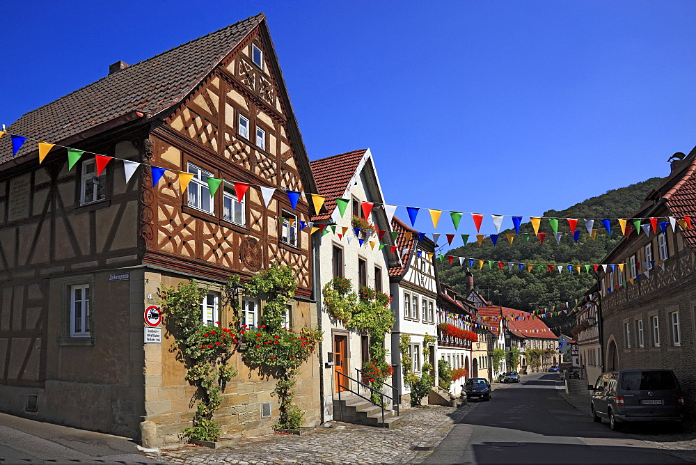 Lane in the historic town centre in Zeil am Main, Hassberge district, Lower Franconia, Bavaria, Germany, Europe