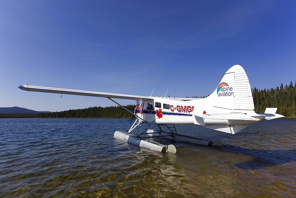 Taxiing, legendary de Havilland Canada DHC-2 Beaver, float plane, bush plane, Caribou Lakes, upper Liard River, Yukon Territory, Canada
