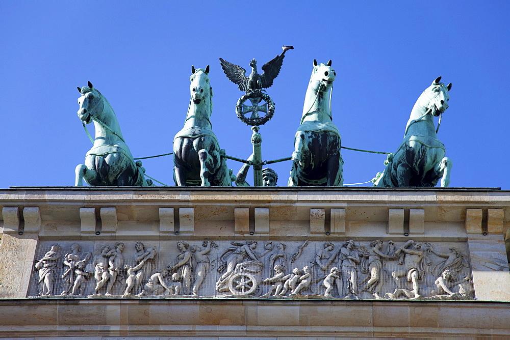 Part of the Brandenburg Gate on Pariser Platz, Berlin, Germany, Europe