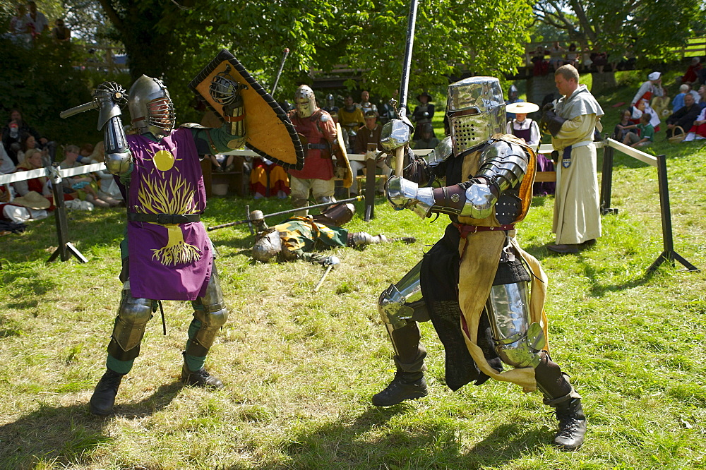 Knights fighting with swords, Medieval Week in Visby, Gotland Island, Sweden, Scandinavia, Europe