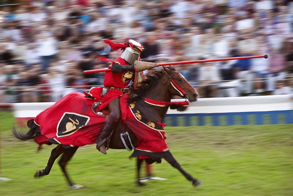 Knight jousting with a lance on horseback, Medieval Week in Visby, Gotland Island, Sweden, Scandinavia, Europe
