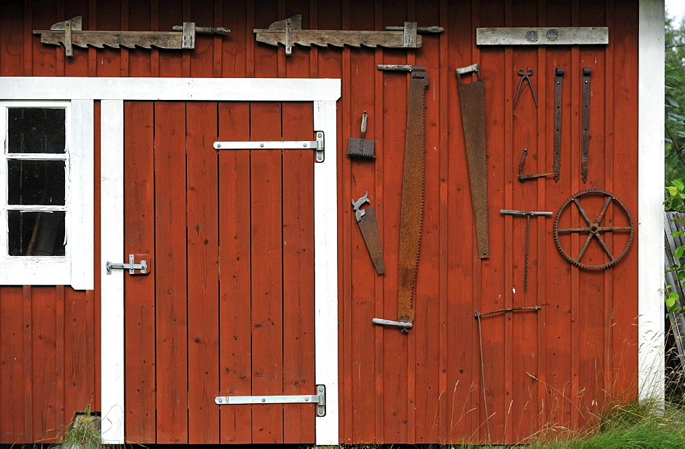 Wooden shed with old tools at Skoerde, Vaestergoetland, Sweden, Europe
