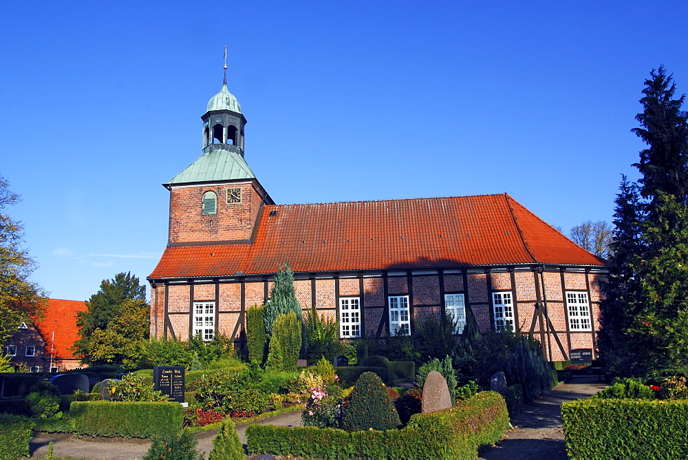 Timber-framed church with cemetery, Eichede, Kreis Stormarn district, Schleswig-Holstein, Germany