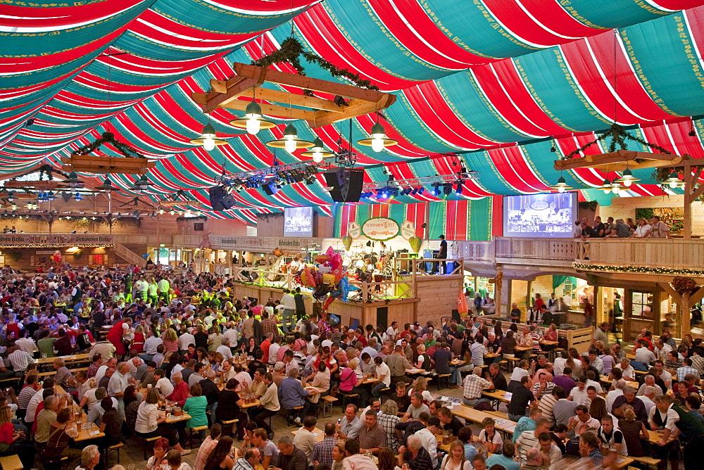 Crowded beer tent at the Stuttgart Beer Festival, Schwabenwelt, Cannstatter Volksfest, Stuttgart, Baden-Wuerttemberg, Germany, Europe