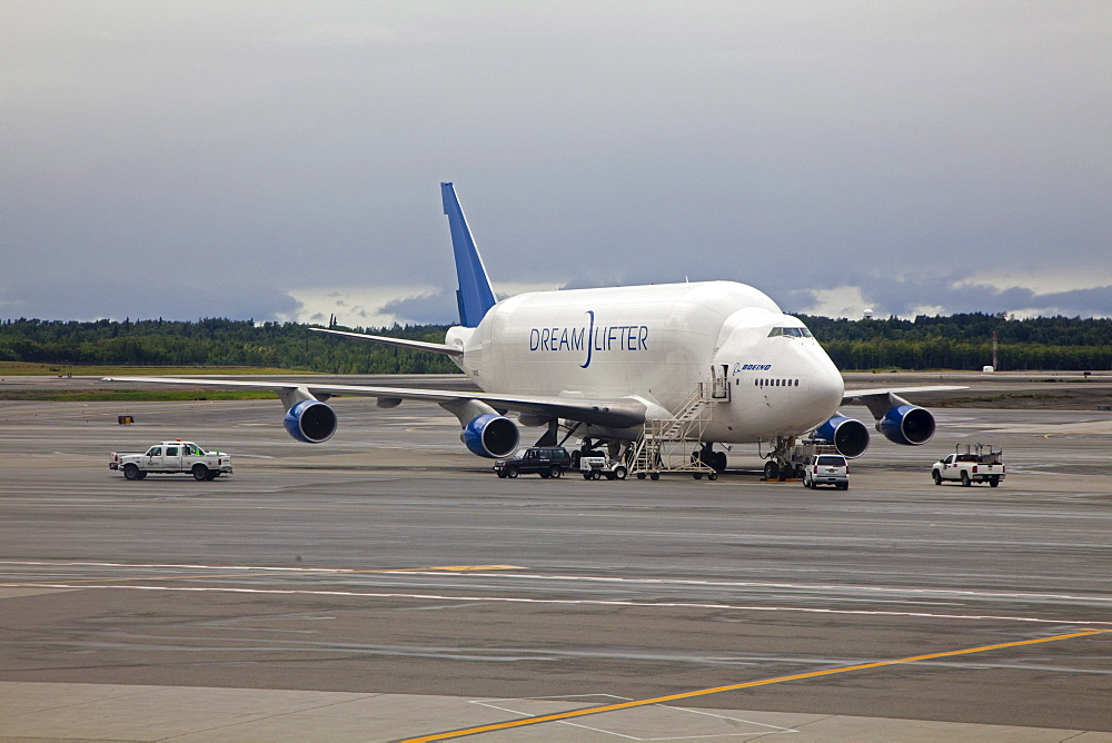 The Dreamlifter cargo plane, a Boeing 747, modified to carry aircraft parts manufactured for Boeing around the world to the company's assembly plant near Seattle, where the Boeing 787 Dreamliner is manufactured, Anchorage, Alaska, USA