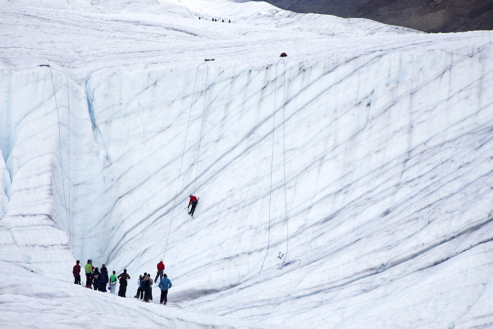 An ice climbing class on the Root Glacier, in Wrangell-St. Elias National Park, Kennicott, Alaska, USA