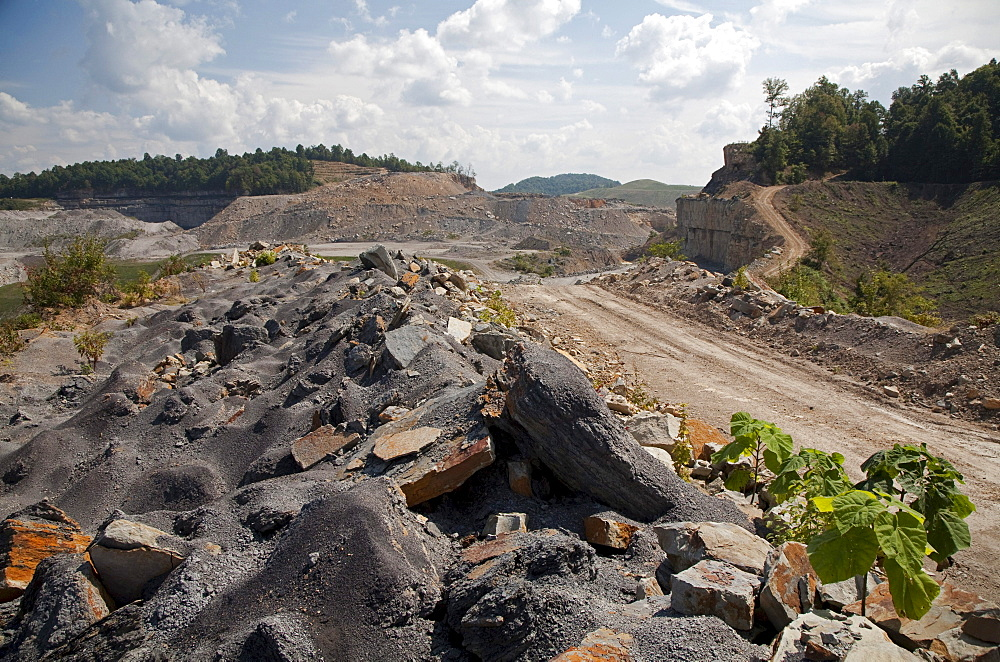 The Patriot Coal Corporation's Samples mine, which uses the technique of mountaintop removal to mine coal. The mountain tops are stripped away and dumped in valleys to get at the coal below. The Samples mine has been temporarily closed due to declining de