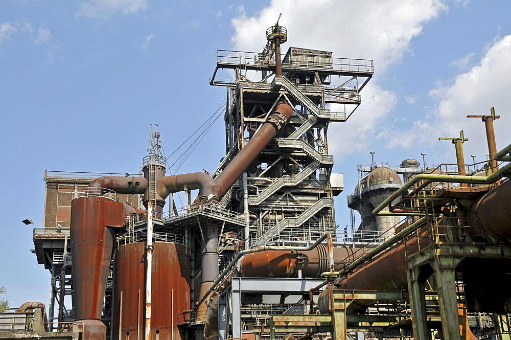 Blast furnace in the Landschaftspark Duisburg-Nord landscape park, a former Thyssen blast furnace plant in Meiderich, Duisburg, North Rhine-Westphalia, Germany, Europe