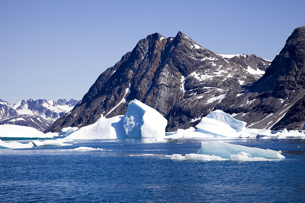 Ice floes in the Sermiligaq Fjord, Ammassalik District, East Greenland, Greenland, Denmark