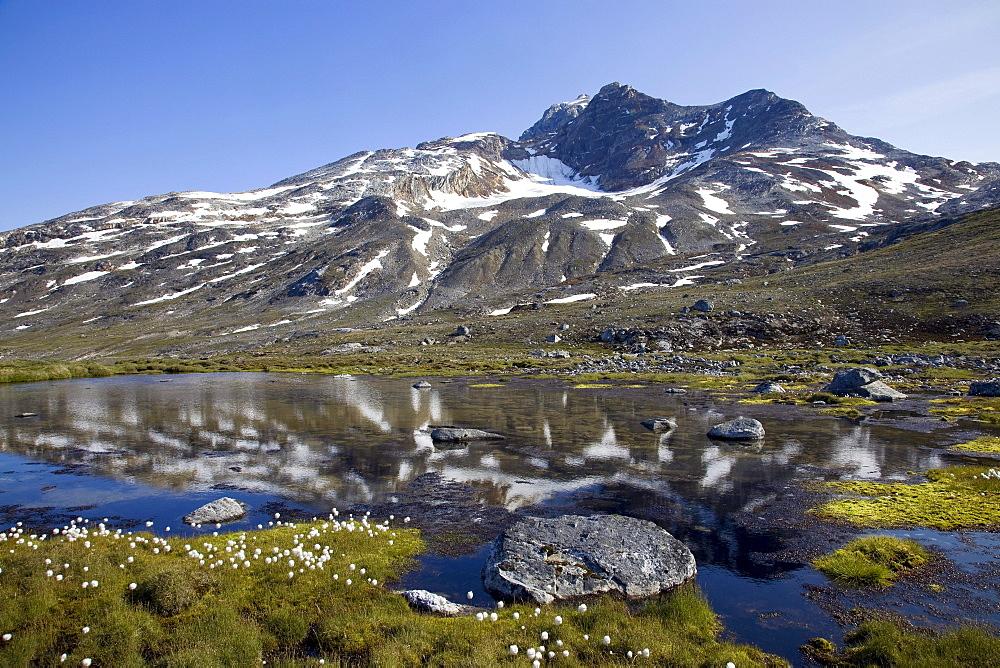 Mountain lake with reflection, Sermiligaq Fjord, Ammassalik District, East Greenland, Greenland, Denmark