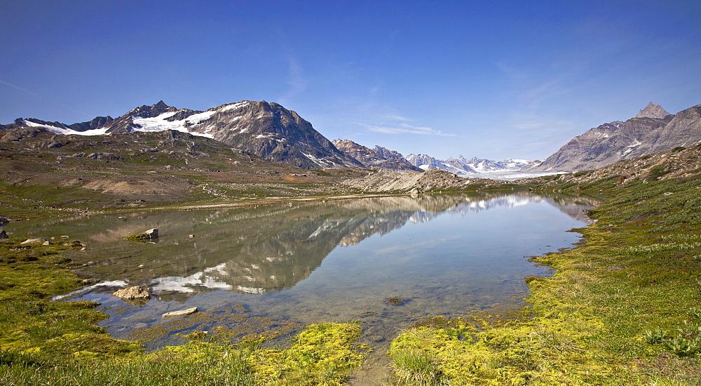 Mountain lake in the Sermiligaq fjord, Ammassalik District, East Greenland, Greenland, Denmark
